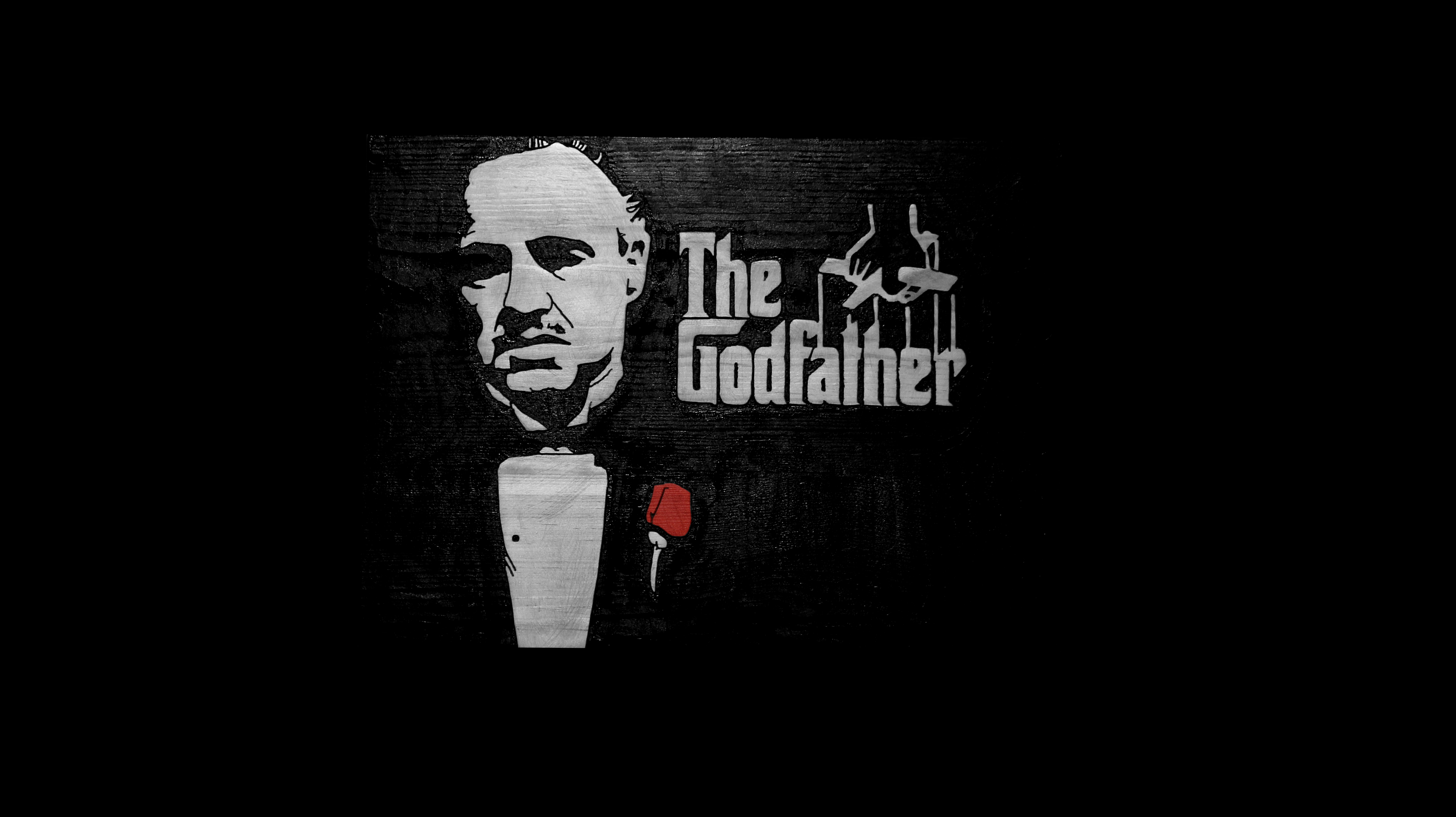 Picture of The Godfather Movie Poster Carved in Wood