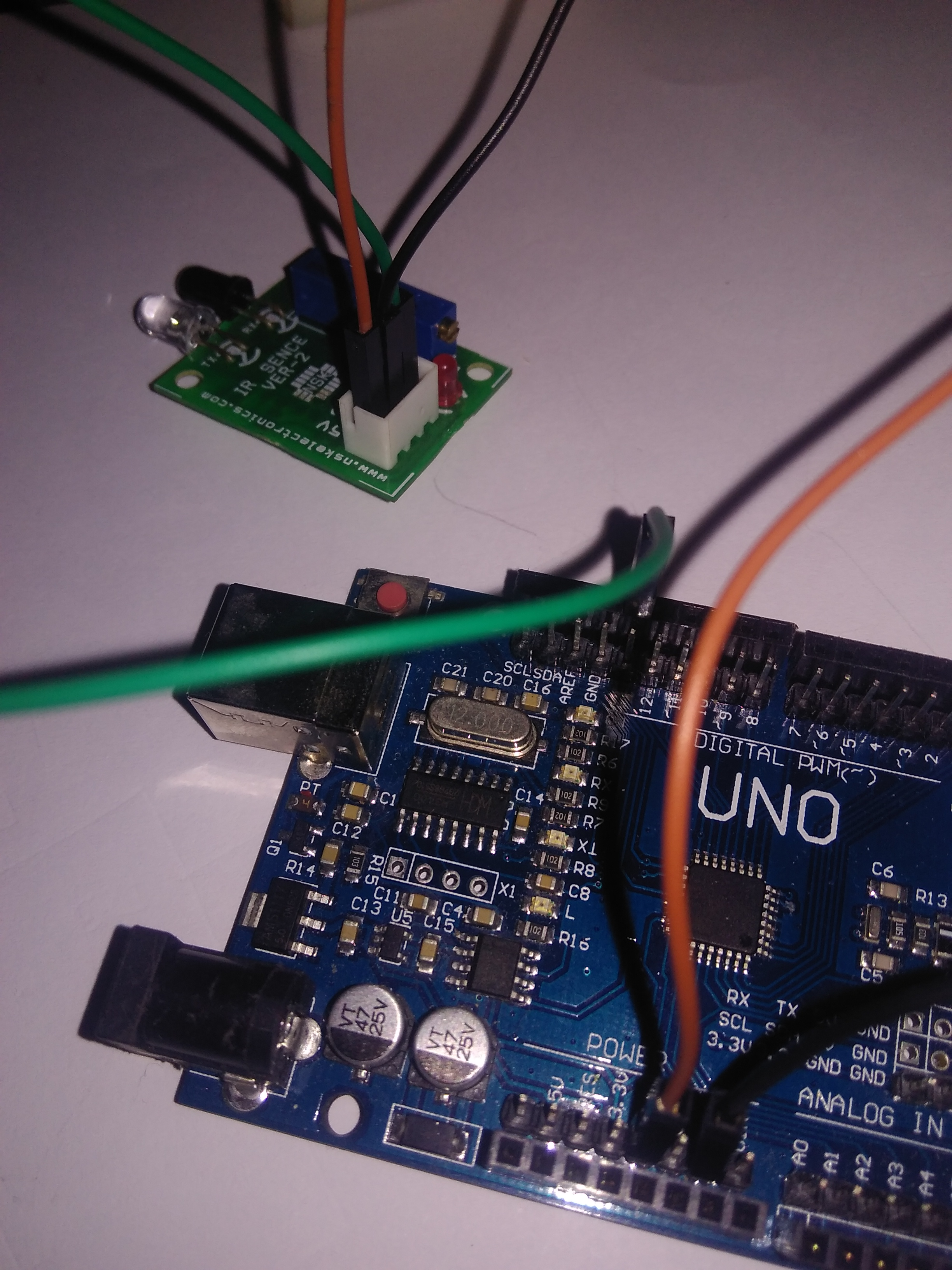 Picture of Connection of Arduino and IR Sensor !!