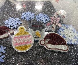 Glitter Acrylic Christmas Pins
