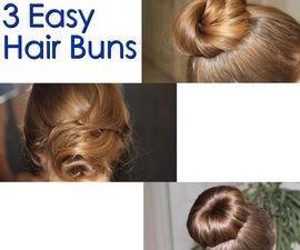 3 Easy Hair Buns