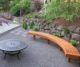 Curved Garden Bench from Cedar Laminations