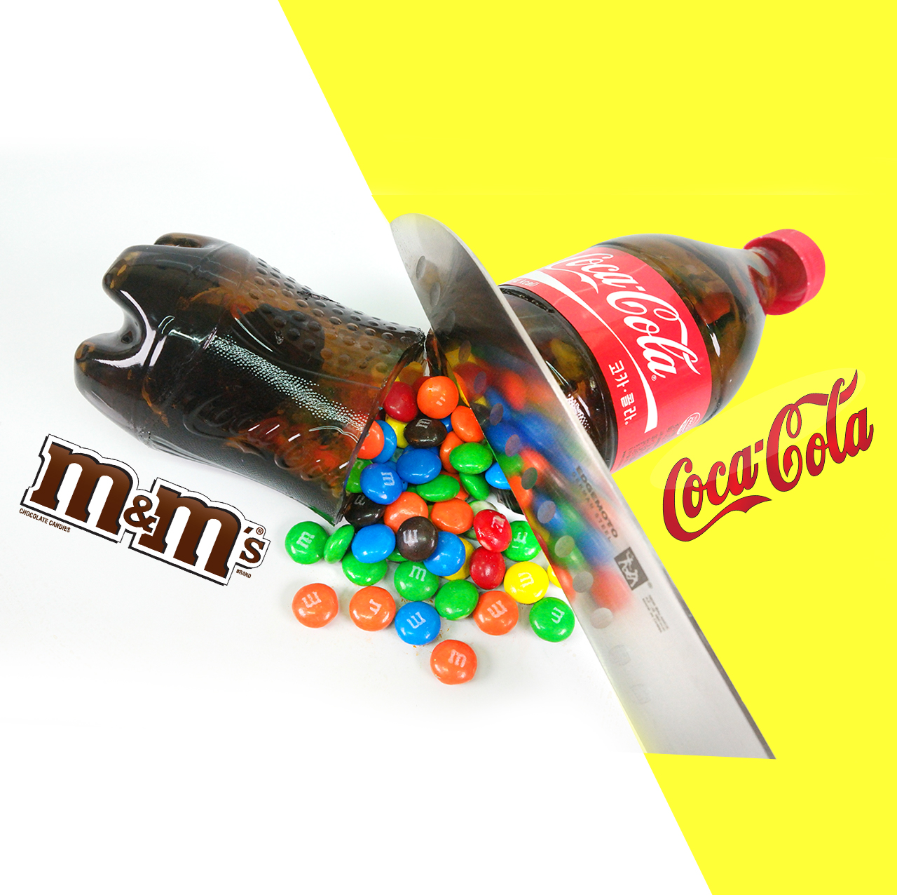 Picture of DIY Coca Cola Bottle Shape Gummy Jelly Dessert & M&M's Chocolate