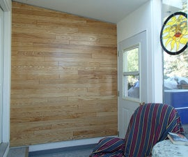 Feature Wall from Salvaged Hardwood Flooring