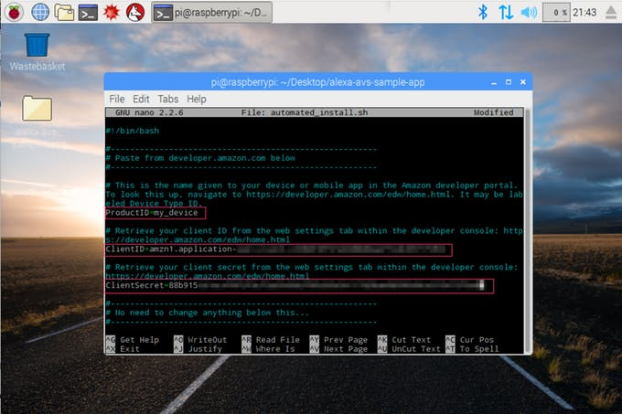 Picture of Update the Install Script With Your Credentials