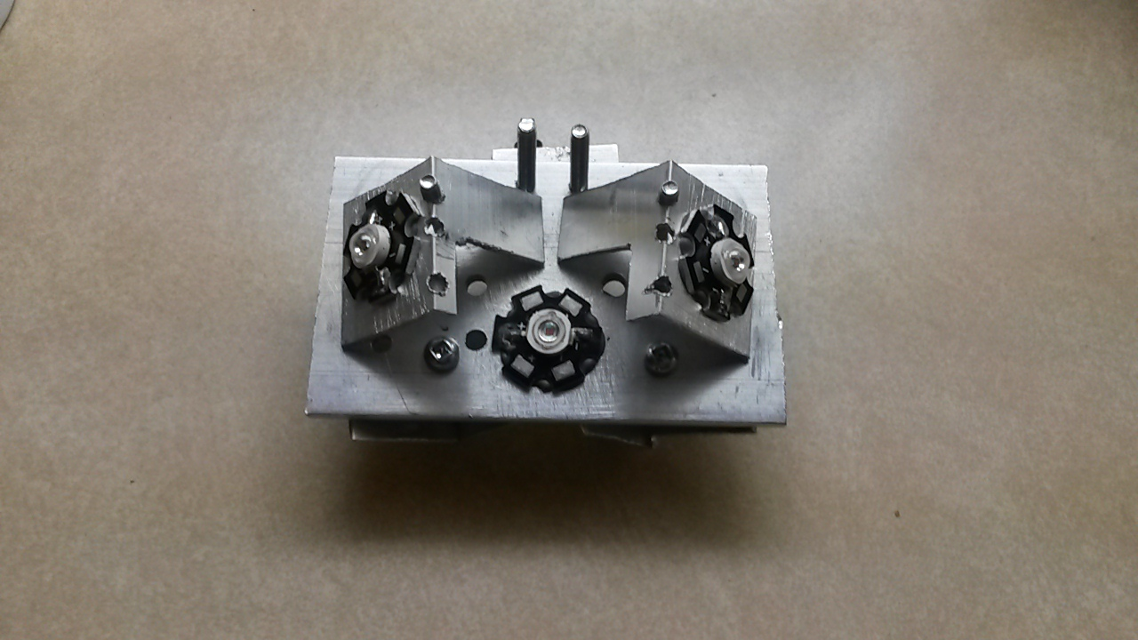 Picture of LEDs Attached to the Heatsinks