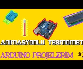 Thermometer with Animation (16x2 LCD  and Arduino)
