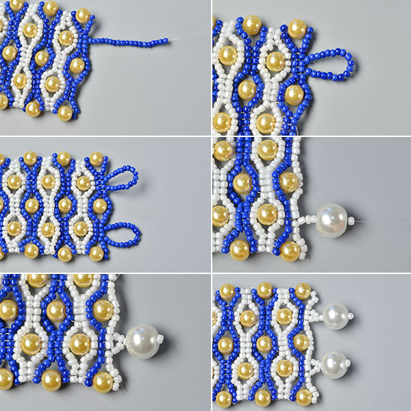Picture of Make the Rest Part of the Blue Seed Bead Stitch Wide Bracelet