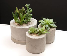 Mini Concrete Planters Using Plastic Bottles