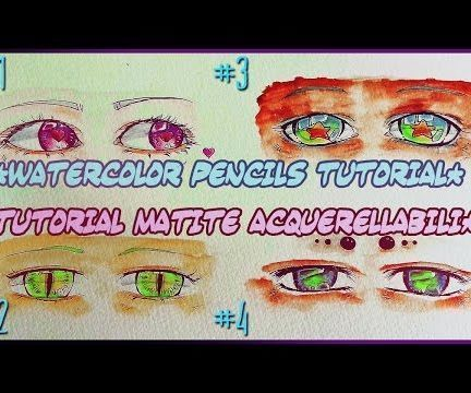 how to draw 4 female anime eyes watercolor pencils drawing tutorial