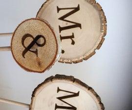 DIY Wood Wedding Cake Toppers