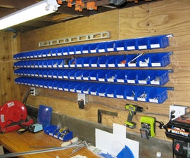 Easy wall mounted storage bins for hardware parts
