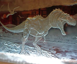 Creating a Ferocious Dinosaur Carving in Glass