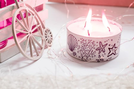 Recycled and Doodled Tin Candle