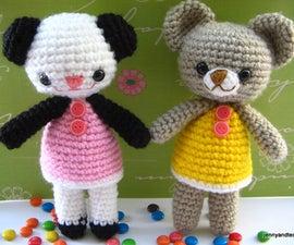 amigurumi crochet pattern two little bear Amanda and Annie