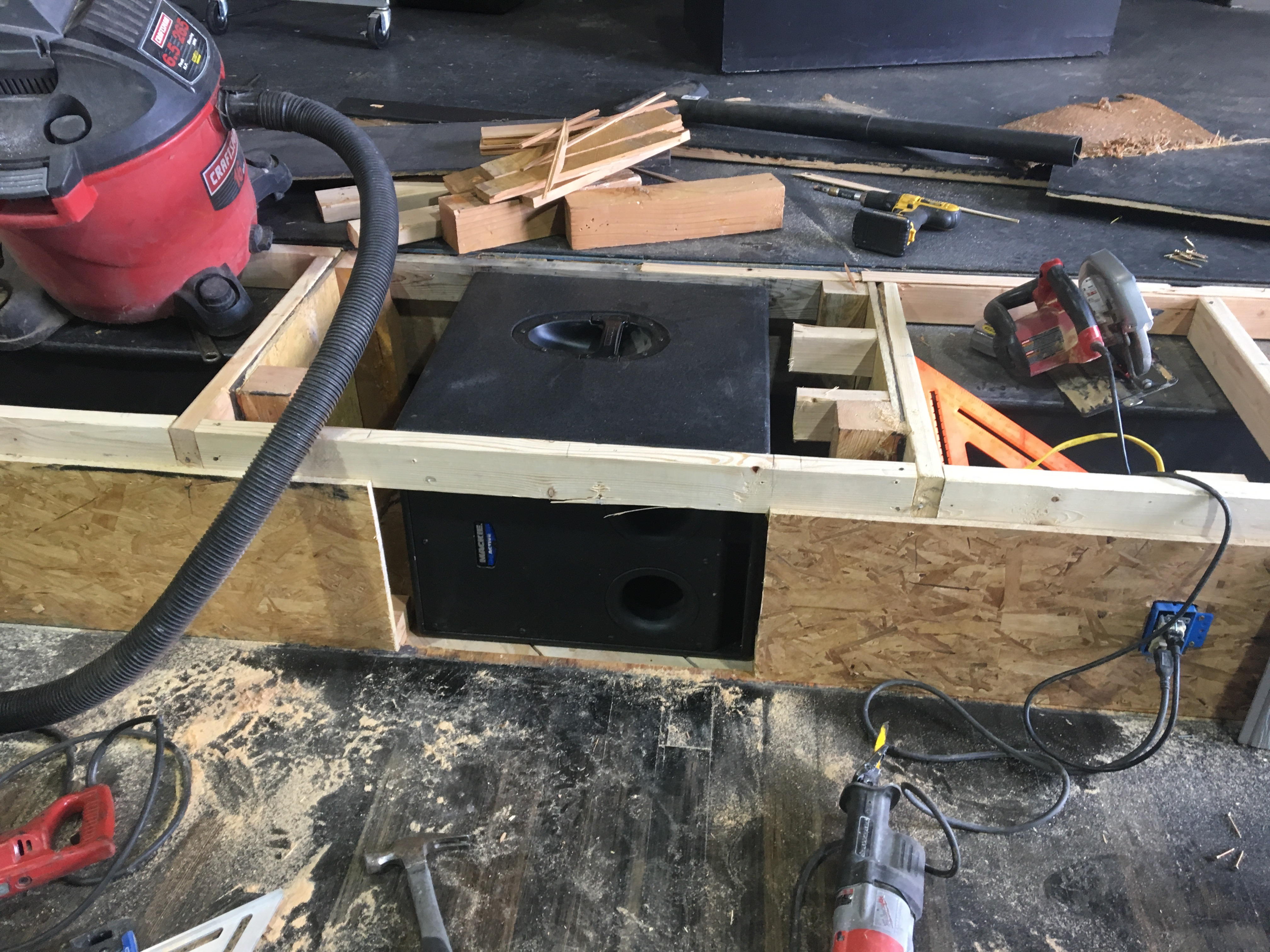Picture of Sunken Sub, Remote Power, and Speaker Placement