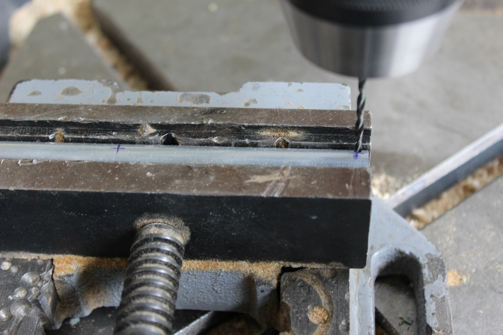 Picture of Drill the Holes in the Aluminium Tube