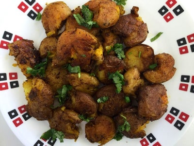 Smashed Pan-roasted Indian Spiced Potatoes
