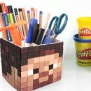 DIY Minecraft Steve Pen Holder ! How To Make Play doh Minecraft Pen Stand