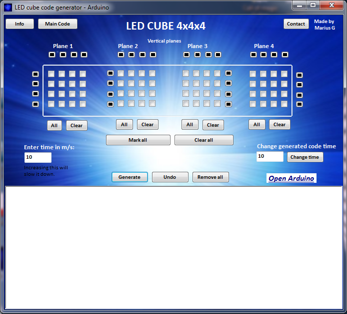 Picture of LED CUBE CODE GENERATOR 4x4x4 Arduino