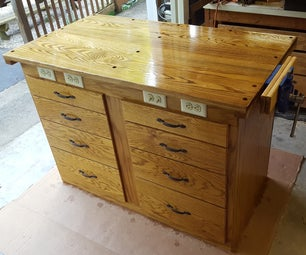 Workbench With Drawers, Power, and Wood Vise