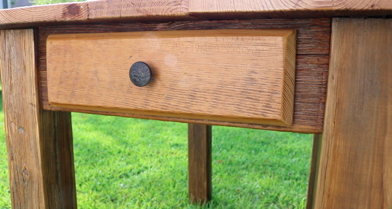 Picture of Farm House Table From Reclaimed Lumber With Drawer
