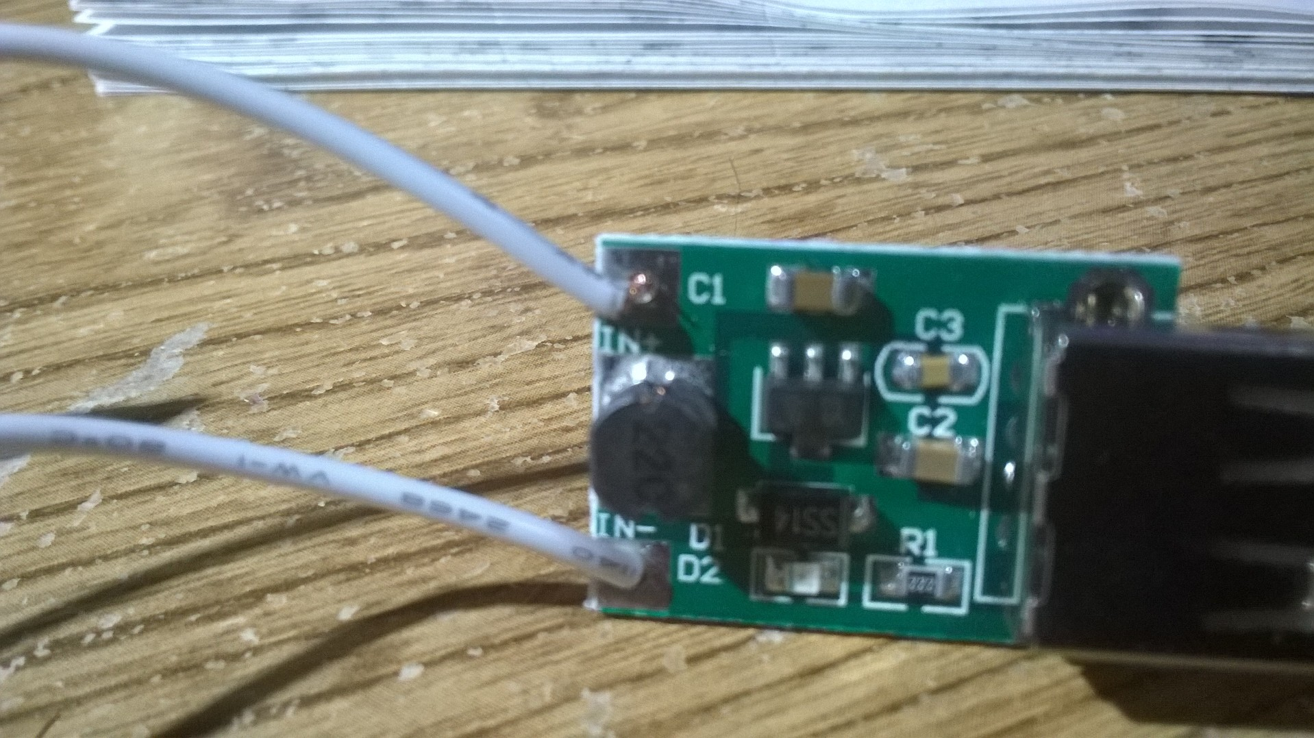 Picture of Solder Your Wires (Panel to Step-up Module)