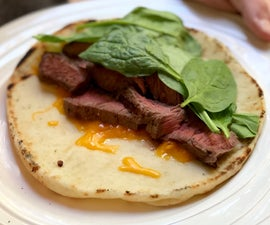 Steak, Cheese and Baby Spinach Naan