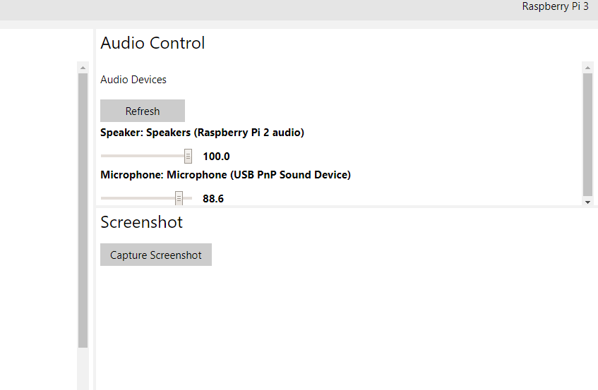 Picture of Audio Settings Through IoT Dashboard