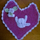 Autism Awareness I Love You Heart Doily