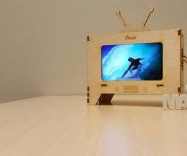 (DUTCH) Wooden smartphone(iPhone6) tv + back led light