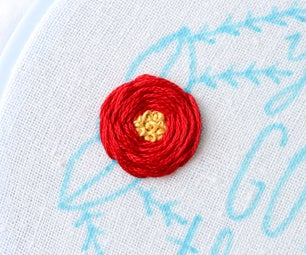 Embroidered Flowers With French Knot Centers