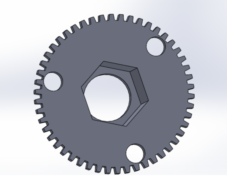 """Picture of Sketch a 16mm Circle on the Top Center of the Gear and """"Extrude Cut"""" All the Way Through the Gear"""
