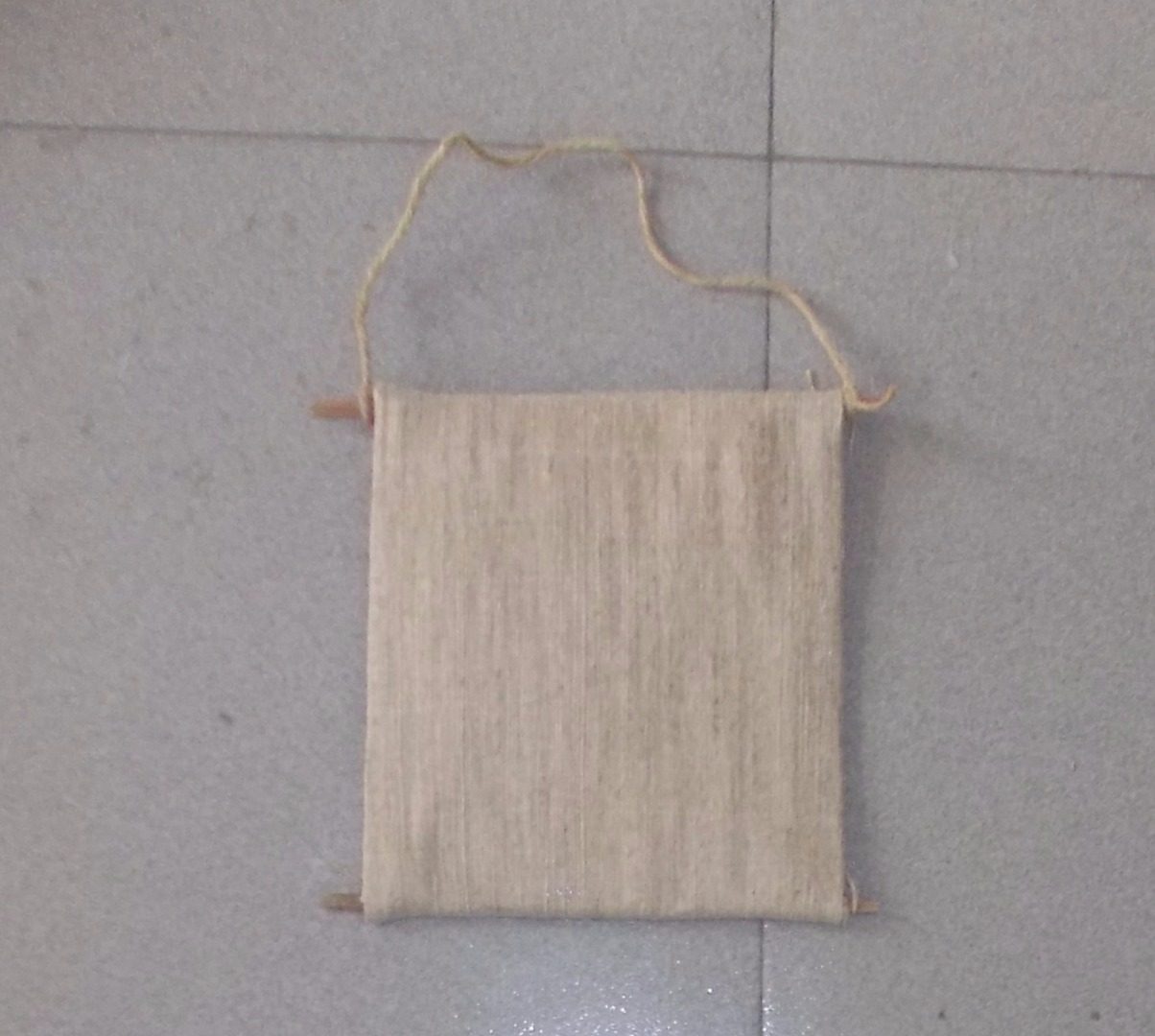 Picture of Cut a Hemp String to Tie 2 Ends at the Top of the Curtain to Hang.