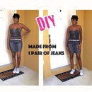 DIY Crop Top and Mini Skirt made from Denim Jeans