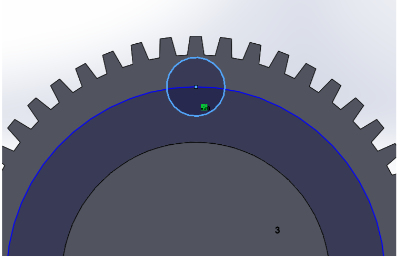 Picture of  Sketch a 21mm Circle on the Bottom of the Gear and Use That Line As the Center Point for a 6.5mm Circle Along the Edge of the Gear