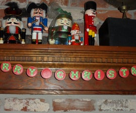 Holiday Garland Made with Milk Lids