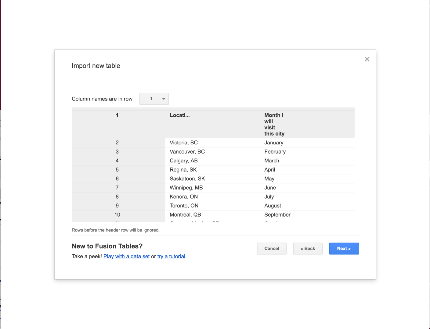 Picture of Import the Spreadsheet to the Fusion Table