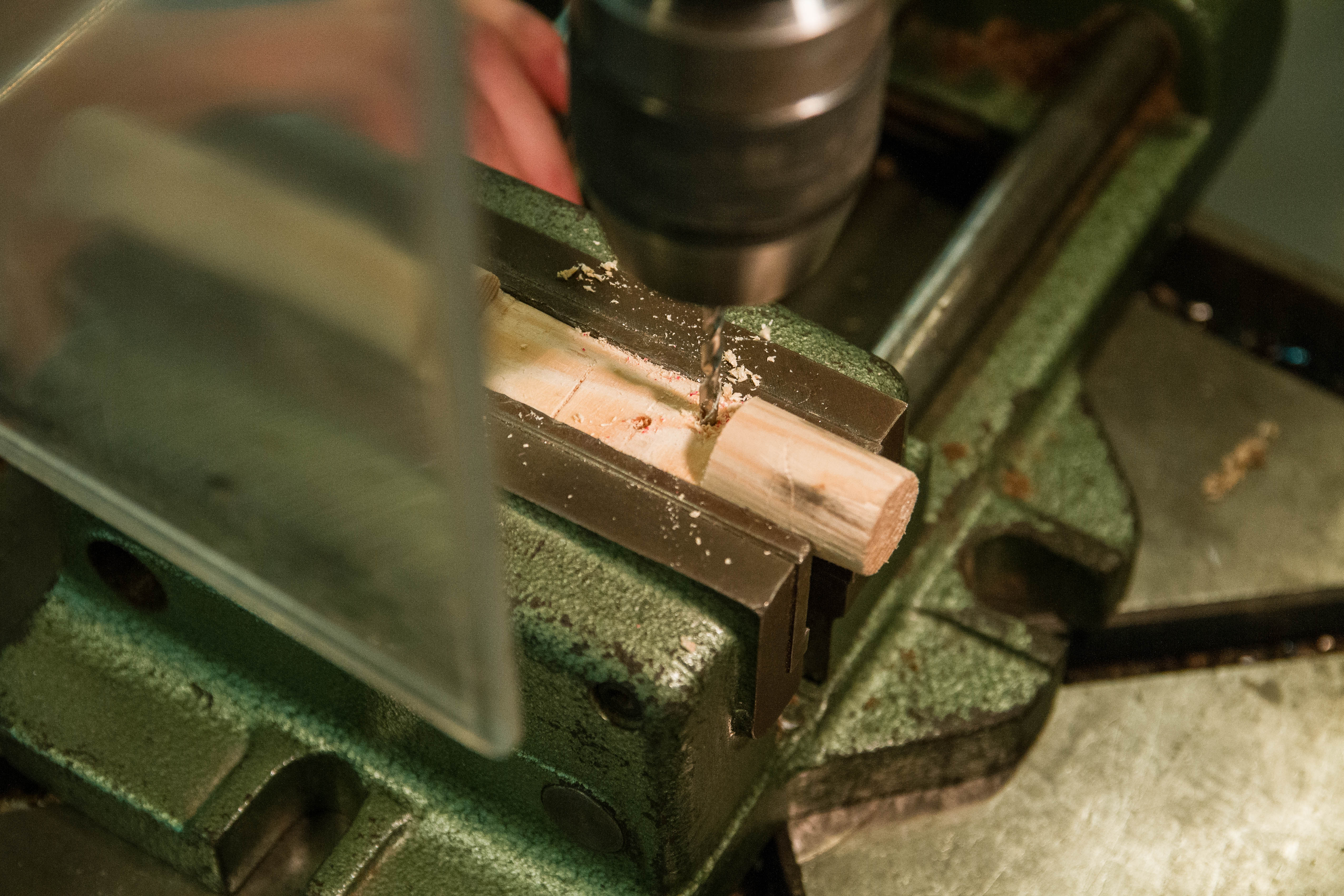 Picture of Drilling Holes in the Wooden Handle.