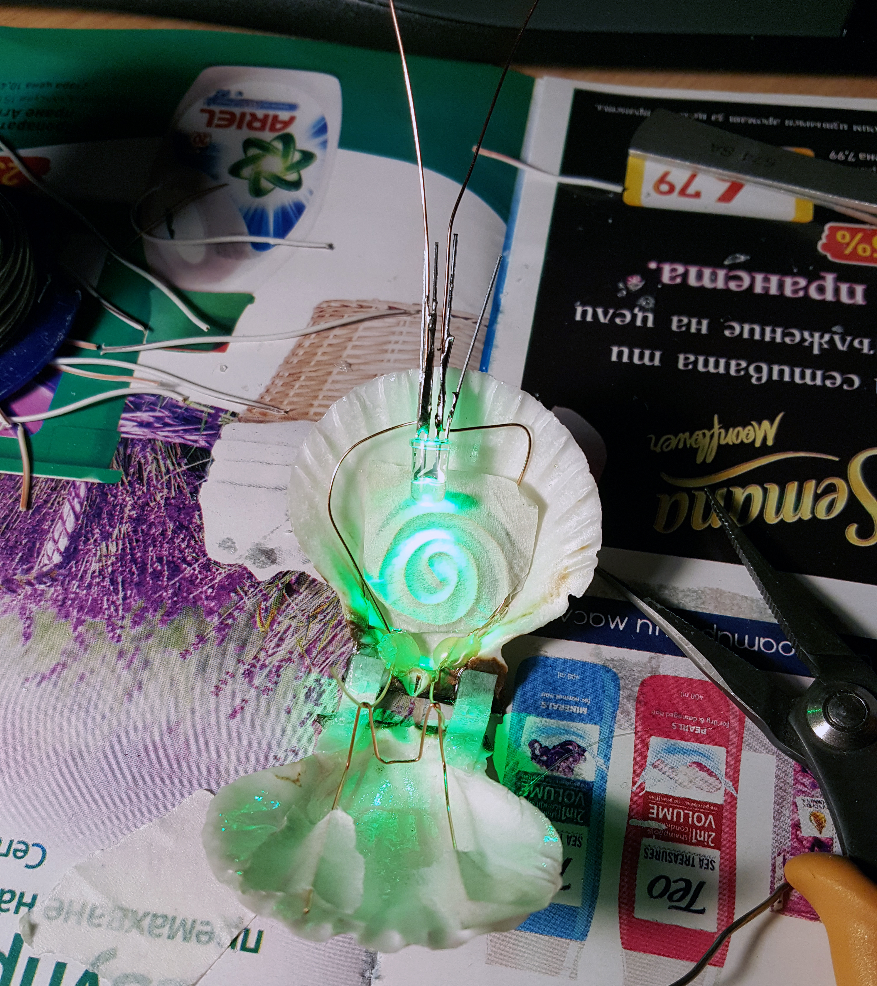 Picture of Electrics: Adding the Battery, Wires, Brushes and LED