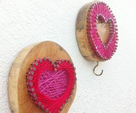 Rustiic String Heart Wall Art and Coat Hook
