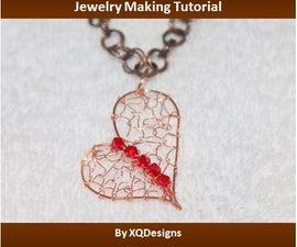 Woven Uneven Heart Pendant Jewelry Making Tutorial