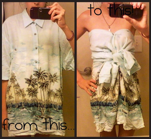 How to Make a Cute, Easy, No Sew Dress From an Old Shirt!