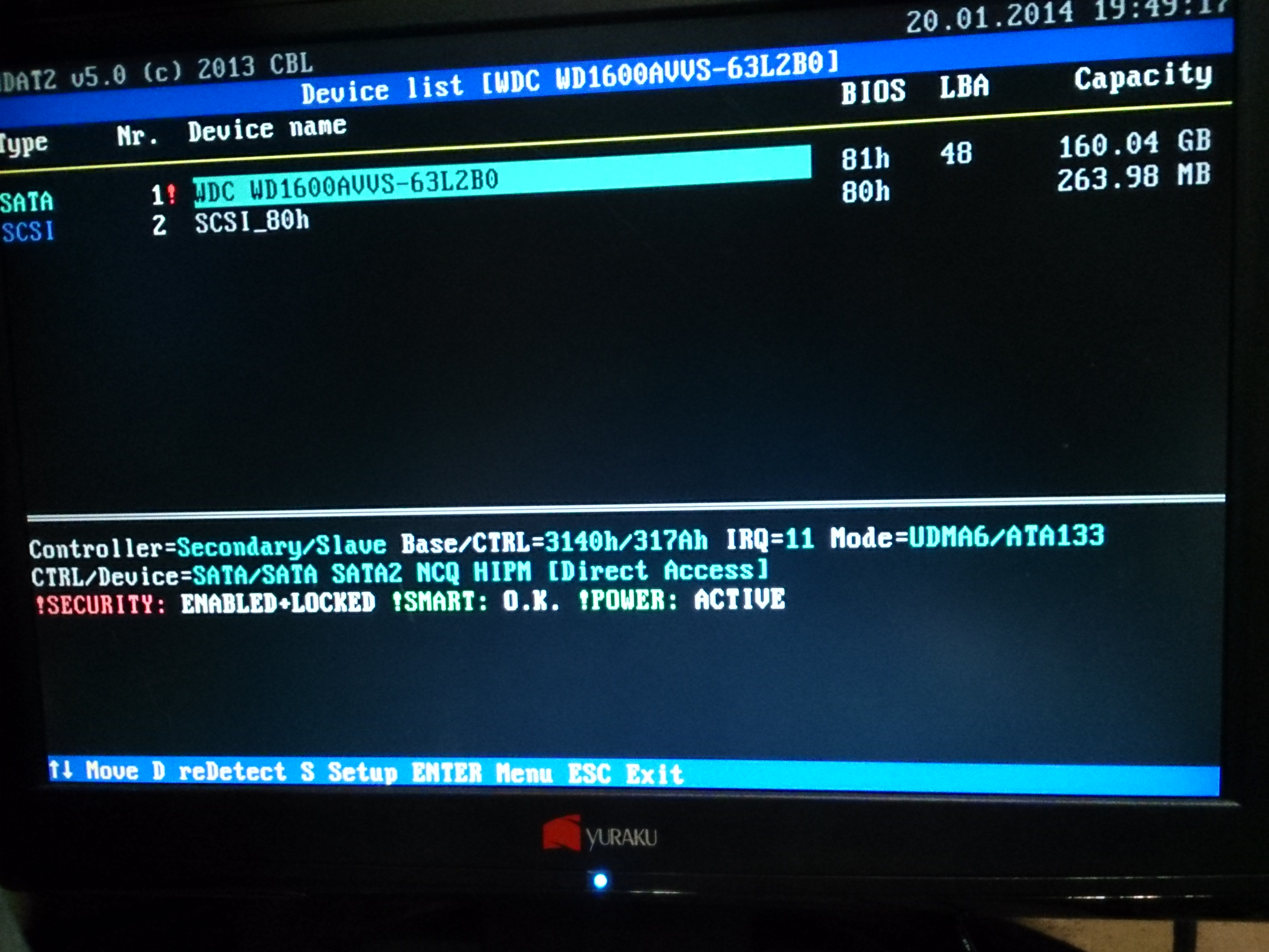 Picture of Using HDAT2 to Unlock and Erase the Drive.