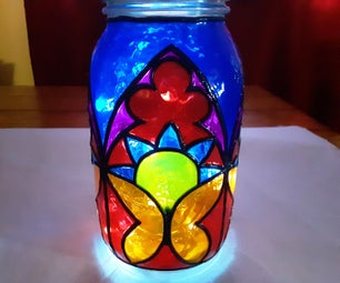 Stained Glass (faux) Mason Jar Lamp