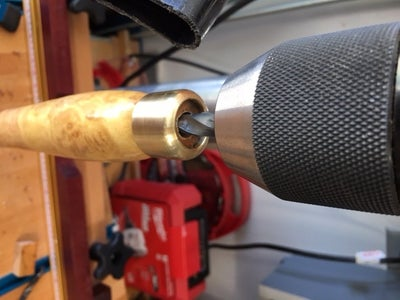 Drilling for the SS Bar in the Spindle, Cutting, Sanding and Finishing the Spindle End