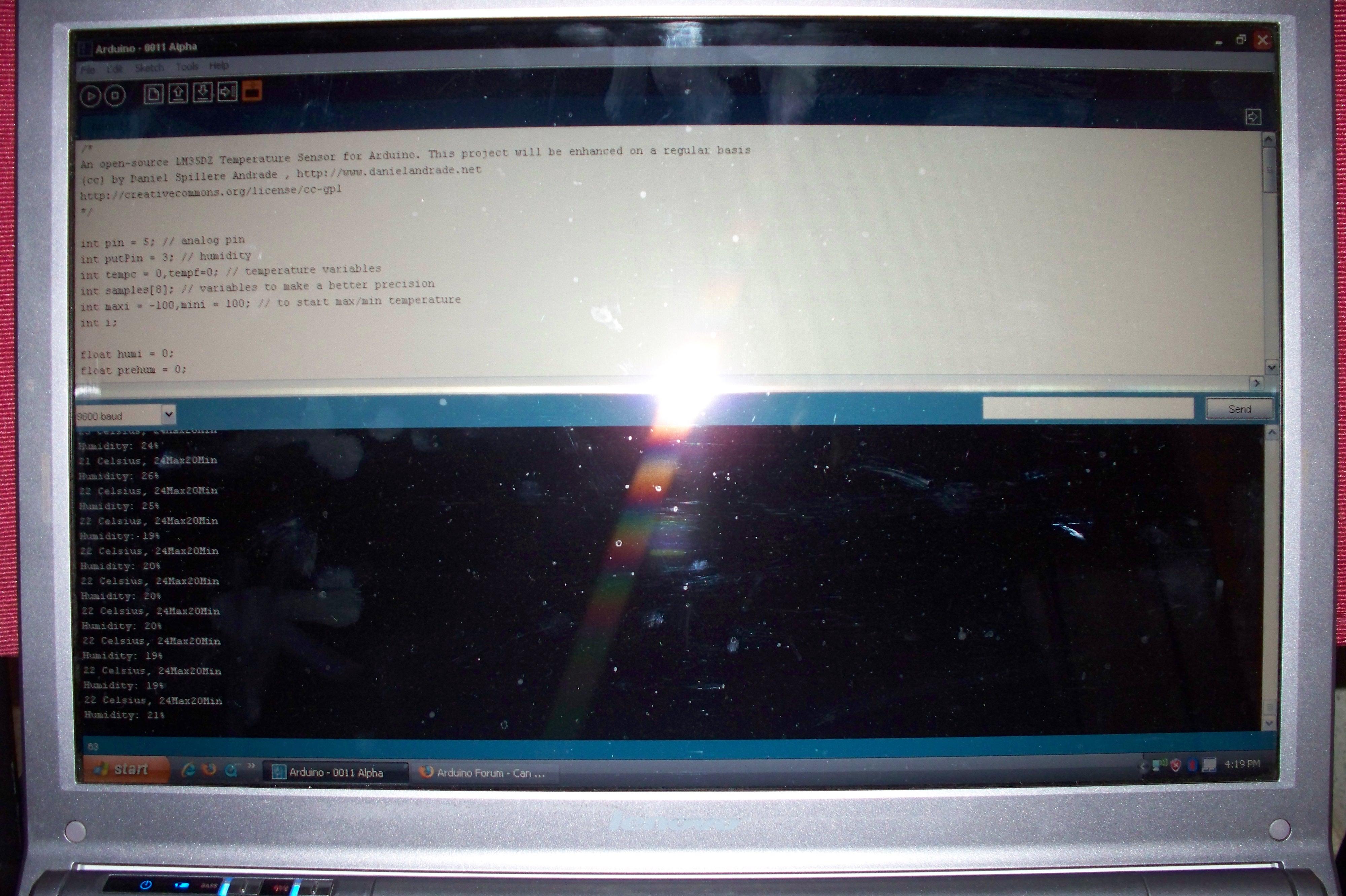 Picture of Arduino + Temperature + Humidity