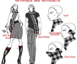 The Terminatrix or Terminator.. the last Cold accessory you will ever need scarf, bluetooth headphones, earmuffs, ipad or purse, face cover, hand pockets