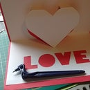Making a Pop Up card that has an image of a Heart and the word love