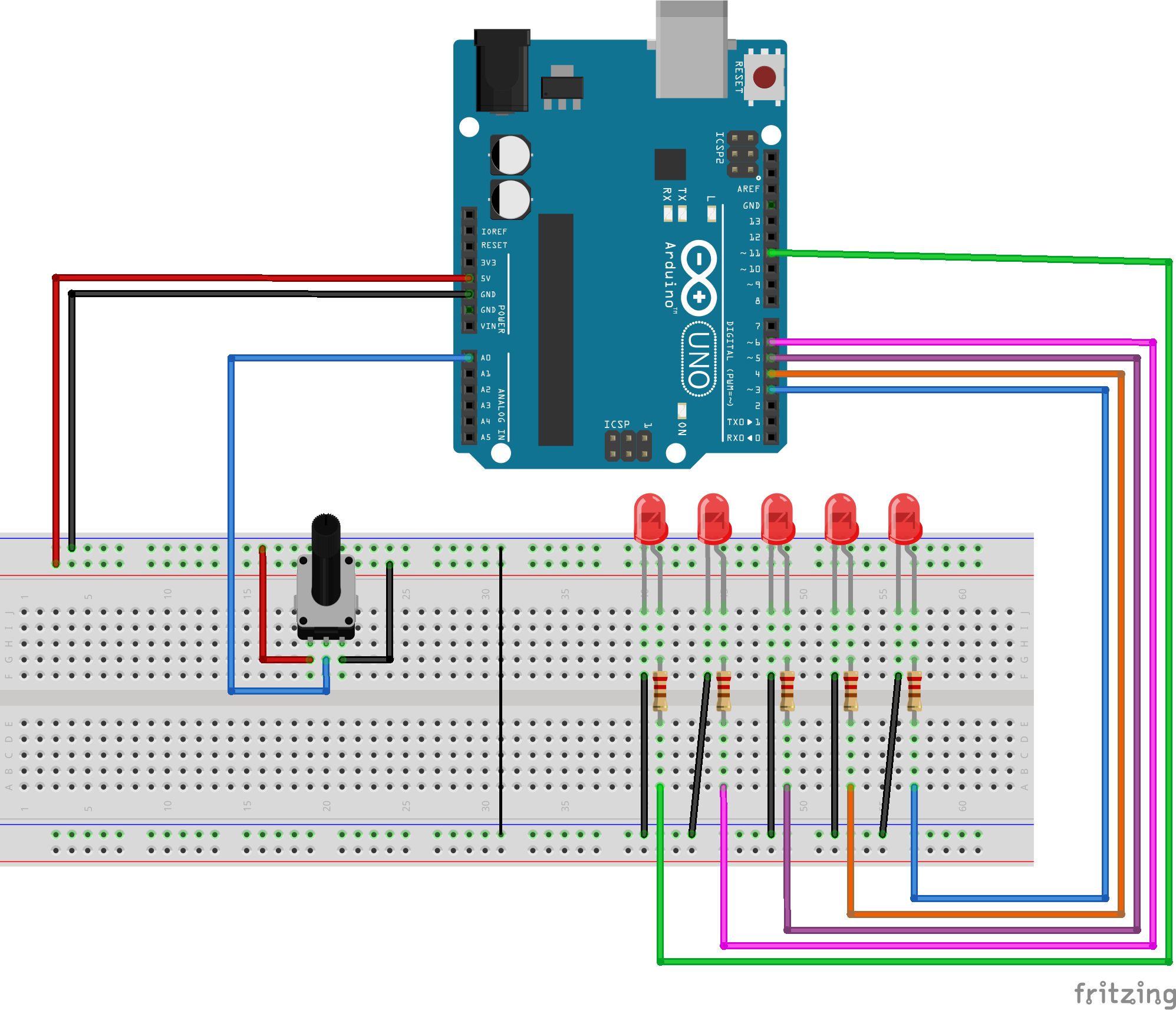 Picture of Ground and Power the Breadboard