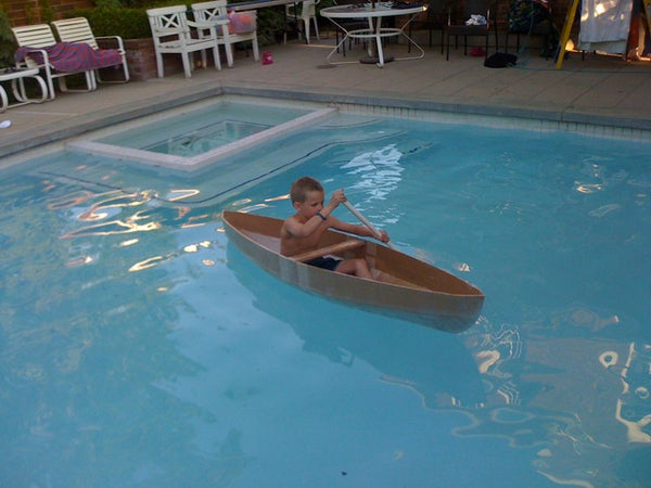 How to Make a Cardboard Canoe for Your Kids in the Pool